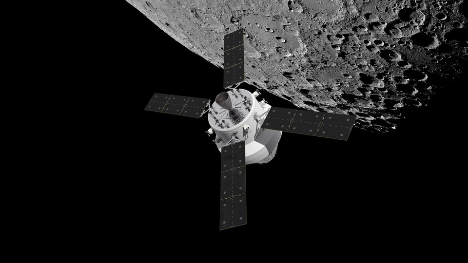 Orion and European Service Module over the Moon