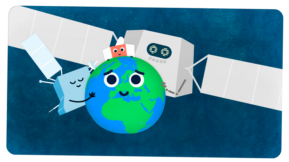 The three BepiColombo cartoon spacecraft modules symbolically 'hug' planet Earth ahead of the flyby