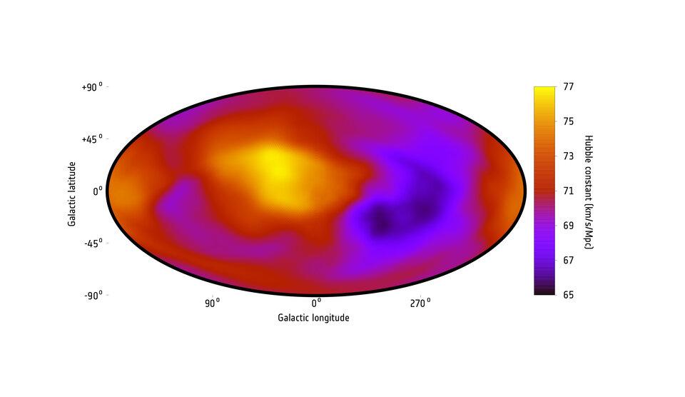 Um mapa que mostra a taxa de expansão do Universo em diferentes direções através do céu com medições do estudo atual