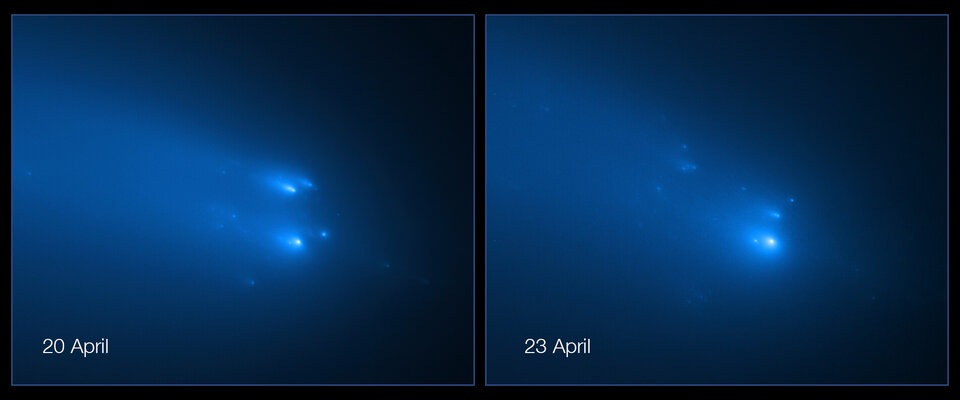 Hubble captures breakup of Comet ATLAS in April 2020