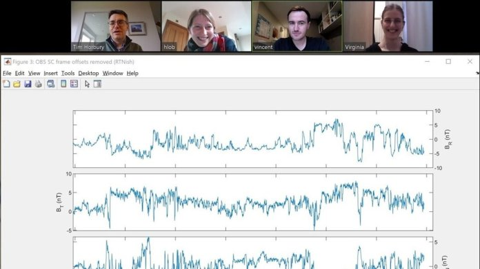 The team behind Solar Orbiter's magnetometer in a Zoom meeting while running experiments on the instrument amid the COVID-19 lockdown