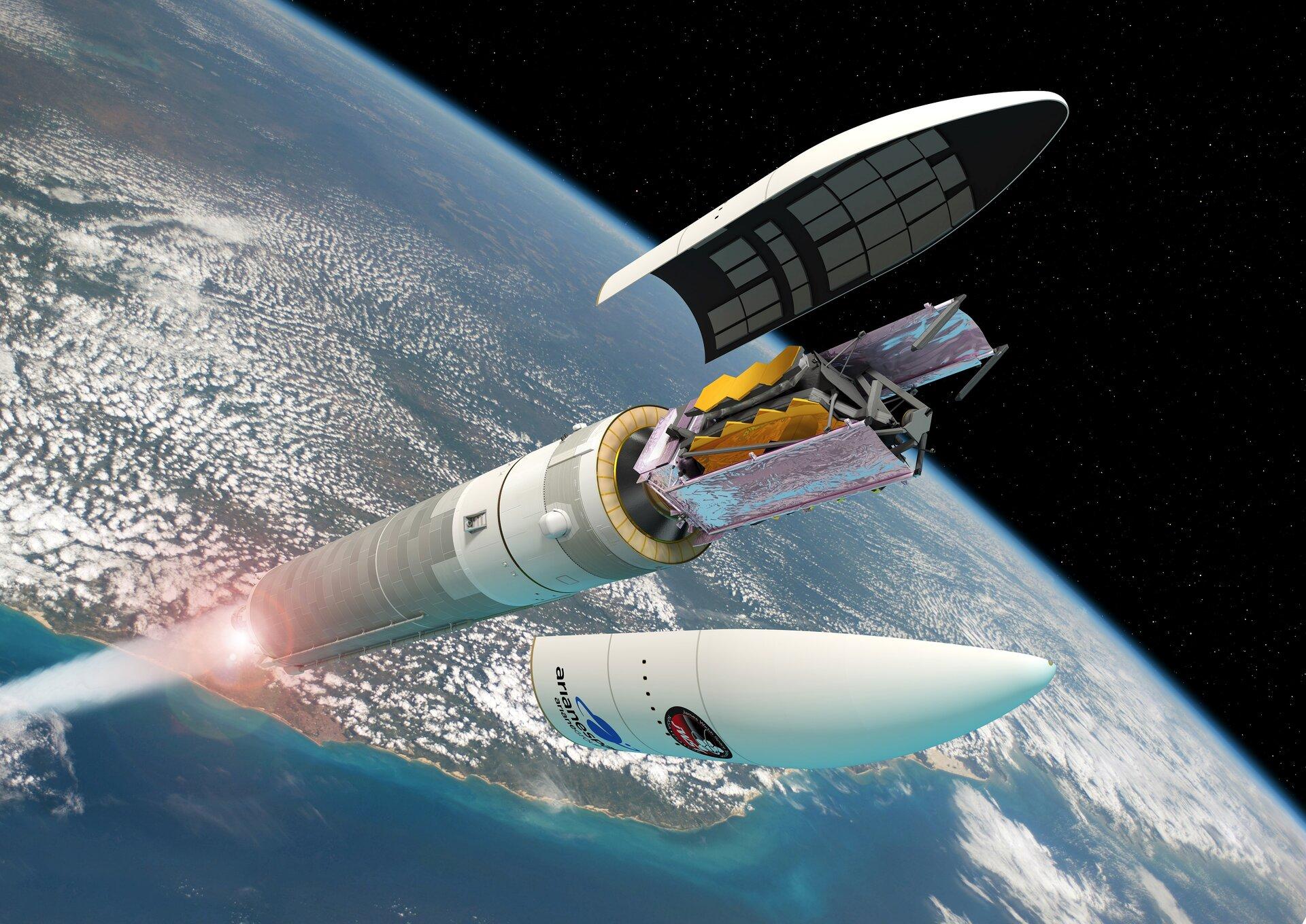 Vue d'artiste du télescope spatial James Webb sur un lanceur Ariane 5
