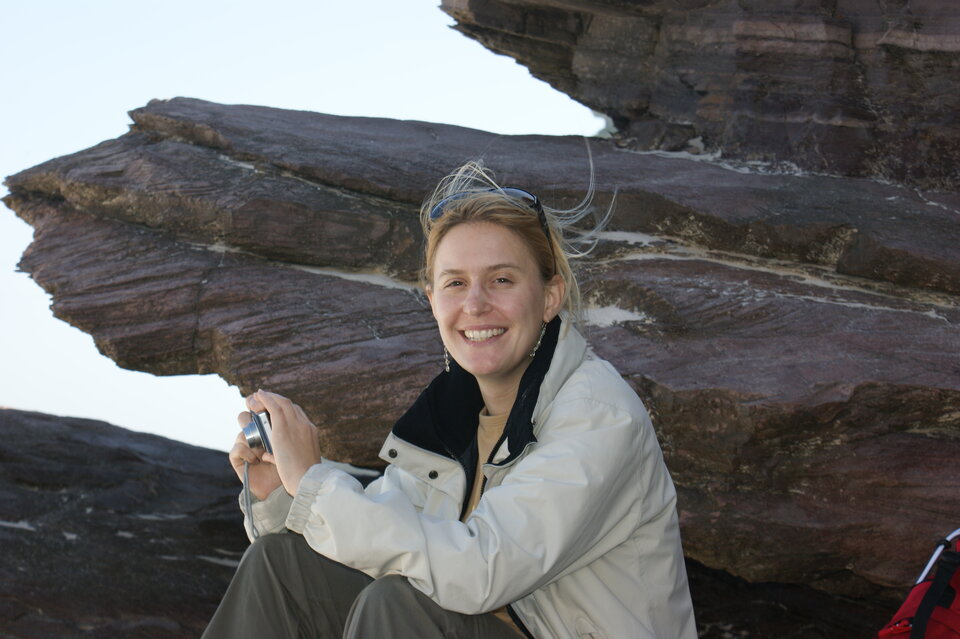 Vinciane Debaille in her natural habitat – surrounded by rocks.