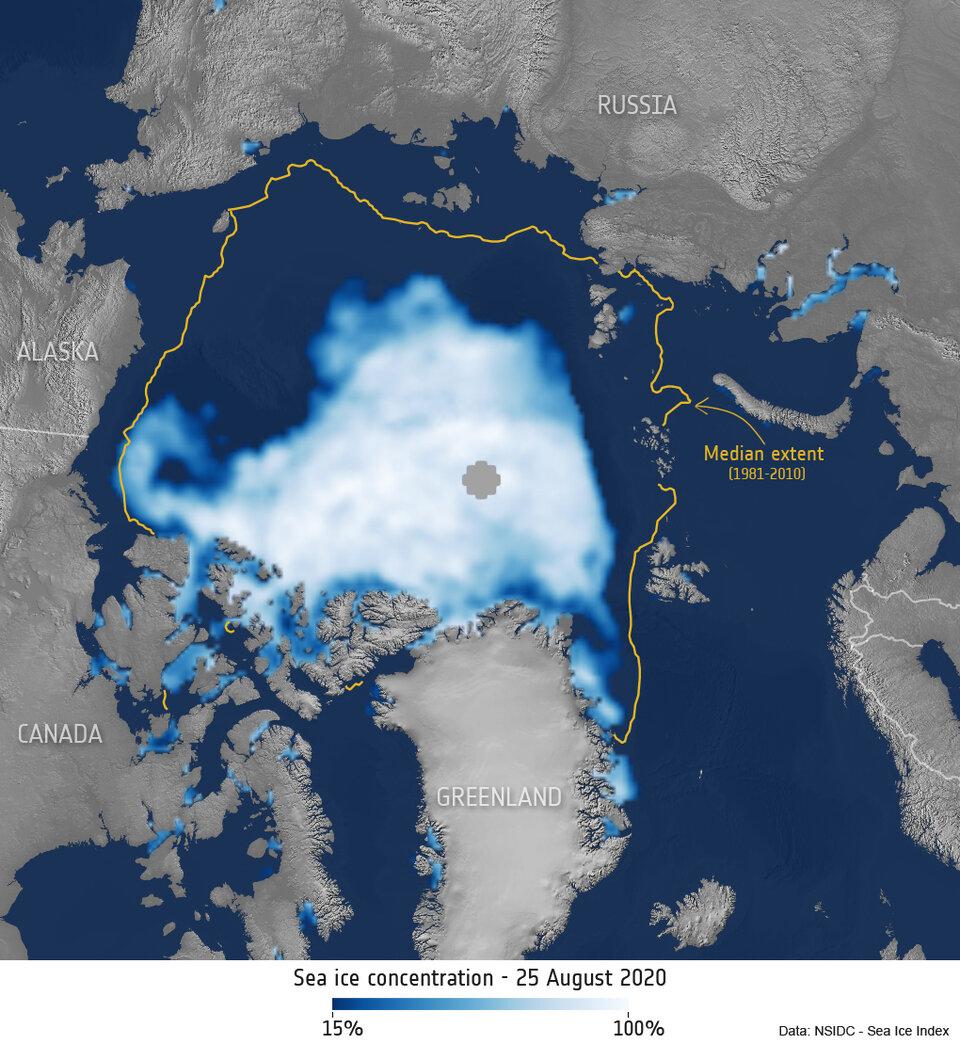 Concentração de gelo do mar Ártico - 25 de agosto de 2020