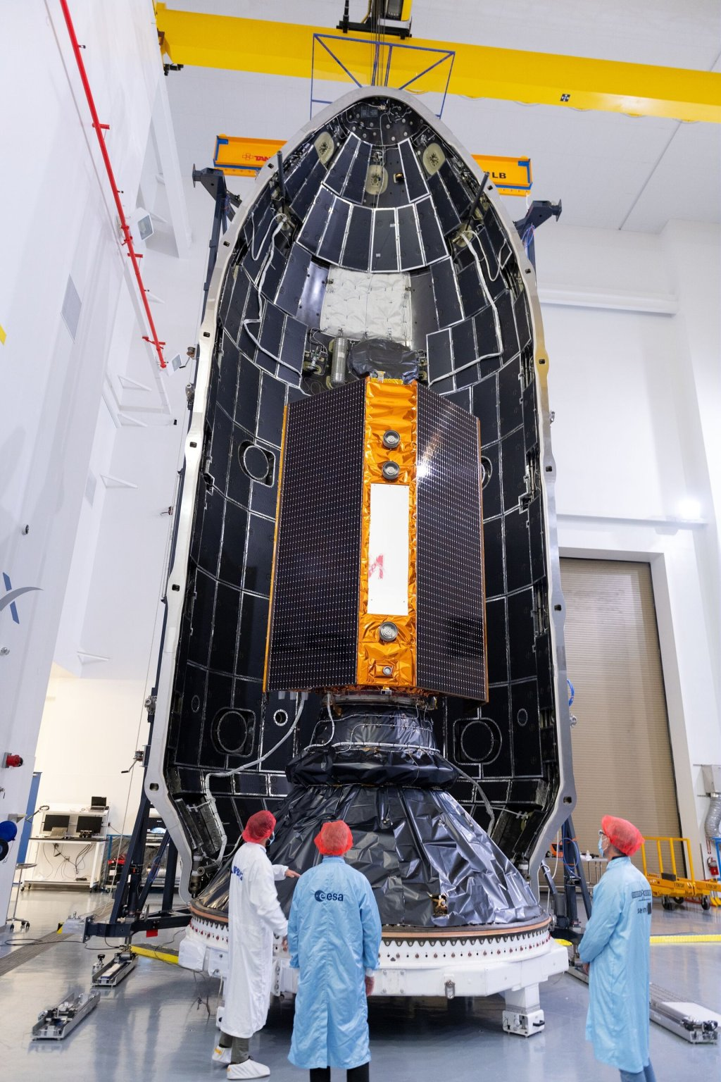 Copernicus Sentinel-6 Michael Freilich being sealed in its rocket fairing