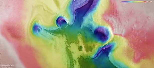 Topographic view of an angel and heart on Mars