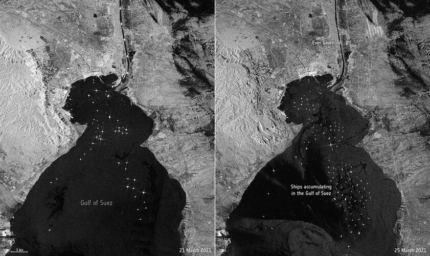 The enormous Ever Given container ship, wedged in Egypt's Suez Canal, is visible in new images captured by the Copernicus Sentinel-1 mission.