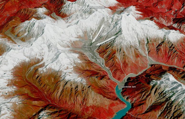 Glacier avalanches in the Sedongpu region, China