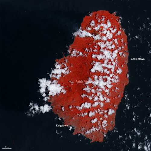 False-colour images captured by Copernicus Sentinel-2 show the aftermath of the explosive volcanic eruption that took place on 9 April 2021 on the Caribbean island of Saint Vincent.