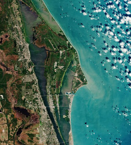 The Copernicus Sentinel-2 mission takes us over Cape Canaveral, USA, in a region known as the Space Coast.