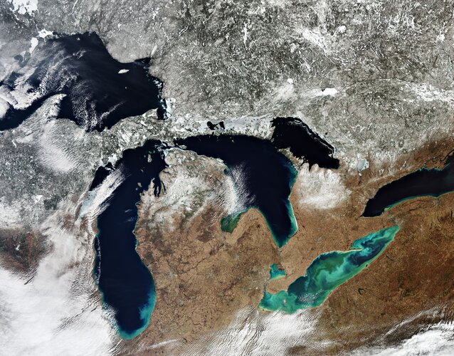 All five of North America's Great Lakes are pictured in this spectacular image captured by the Copernicus Sentinel-3 mission.