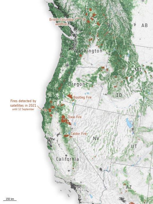 Fire hotspots along the US West Coast