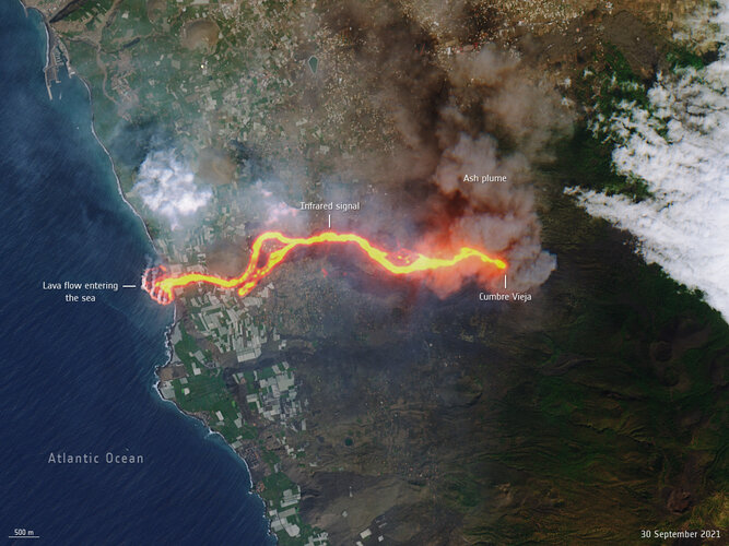 This image, captured by Copernicus Sentinel-2 on 30 September, shows the flow of lava from the volcano erupting on the Spanish island of La Palma.