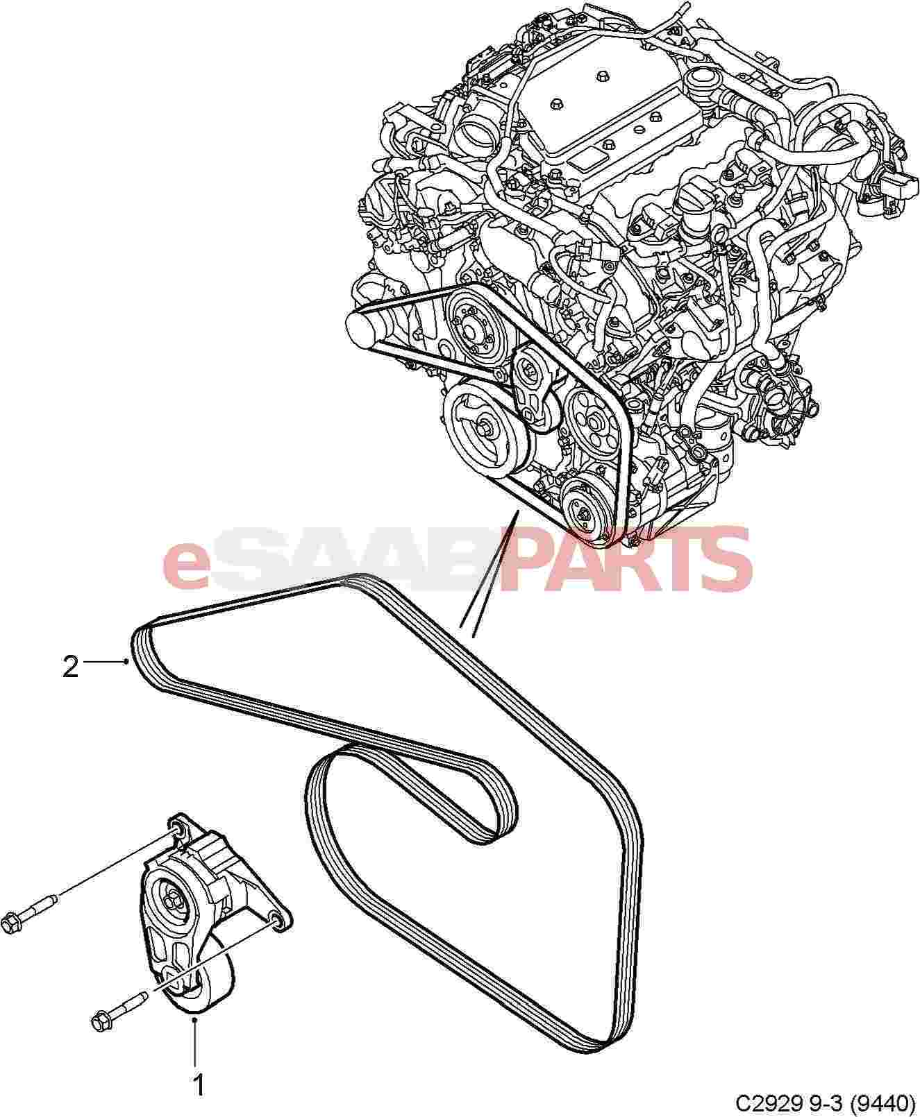 Saab Serpentine Belt 2 8t V6 9 3