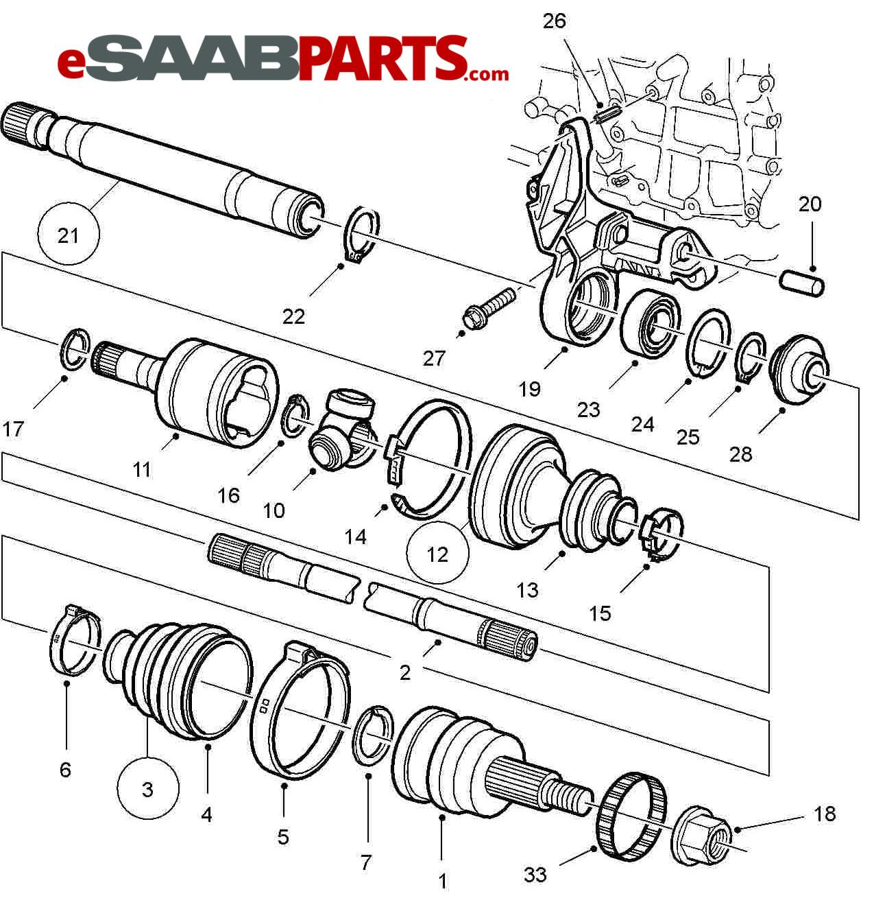Saab Intermediate Shaft