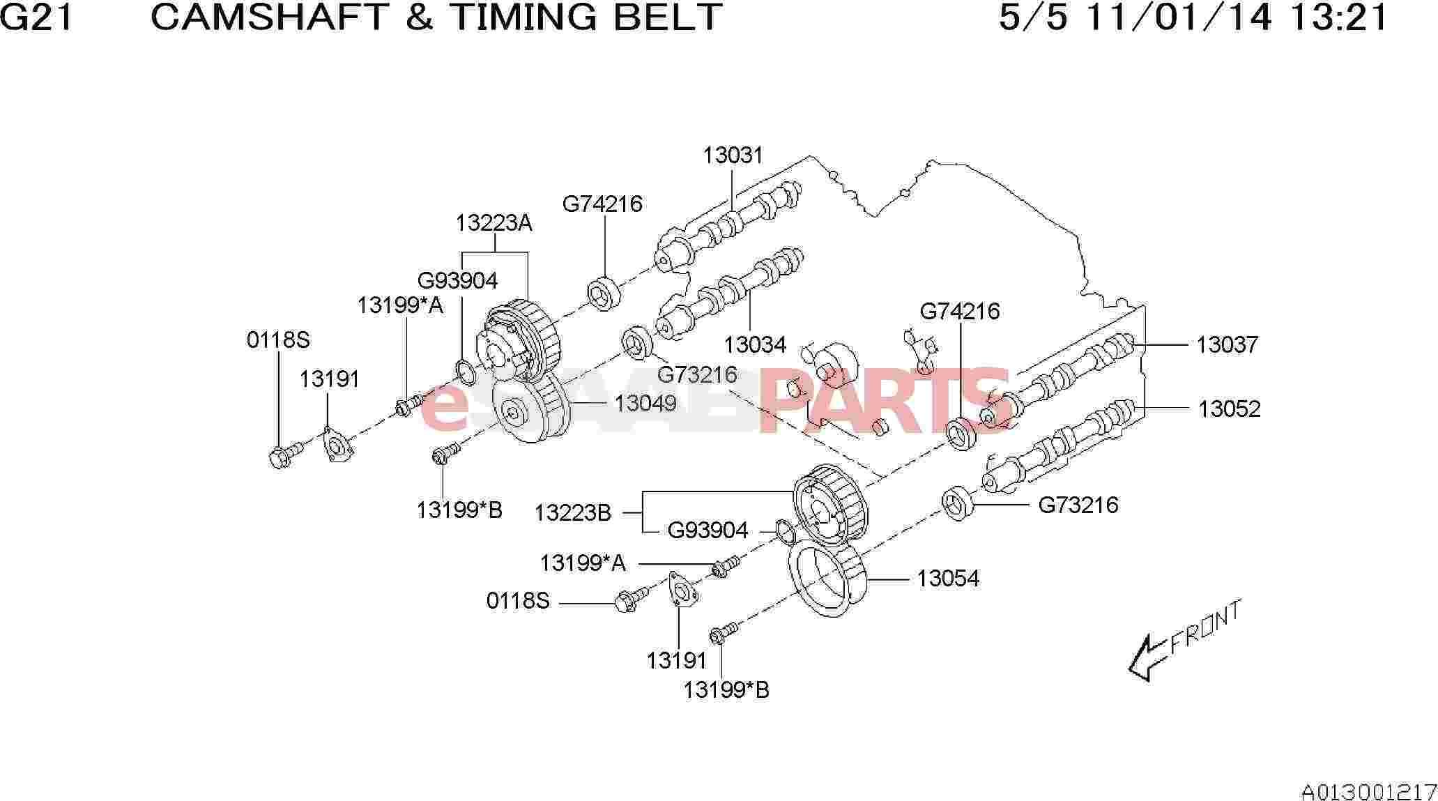 Saab Camshaft Complete Intake Left