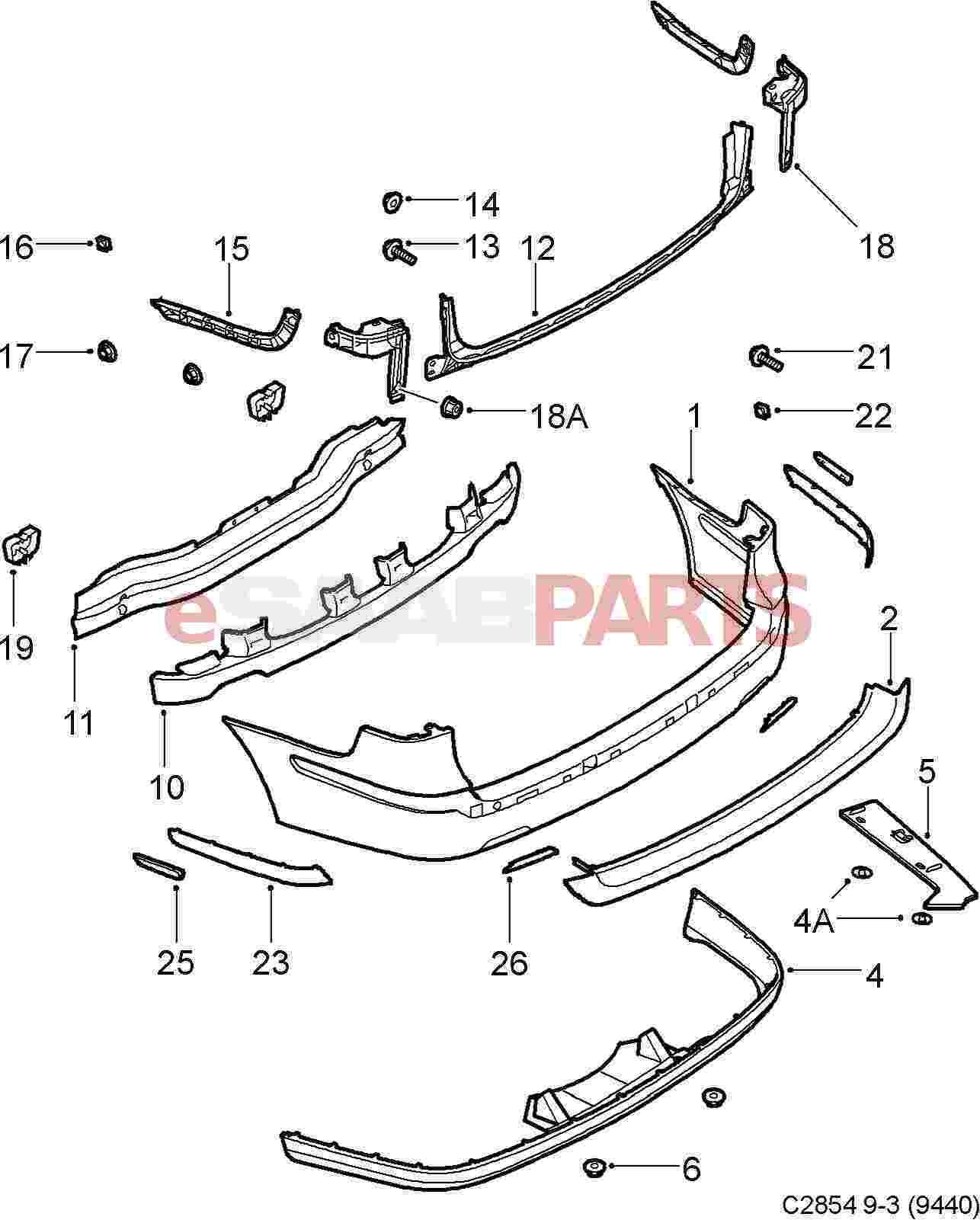 Saab Rear Impact Crash Bar 9 3 03 11