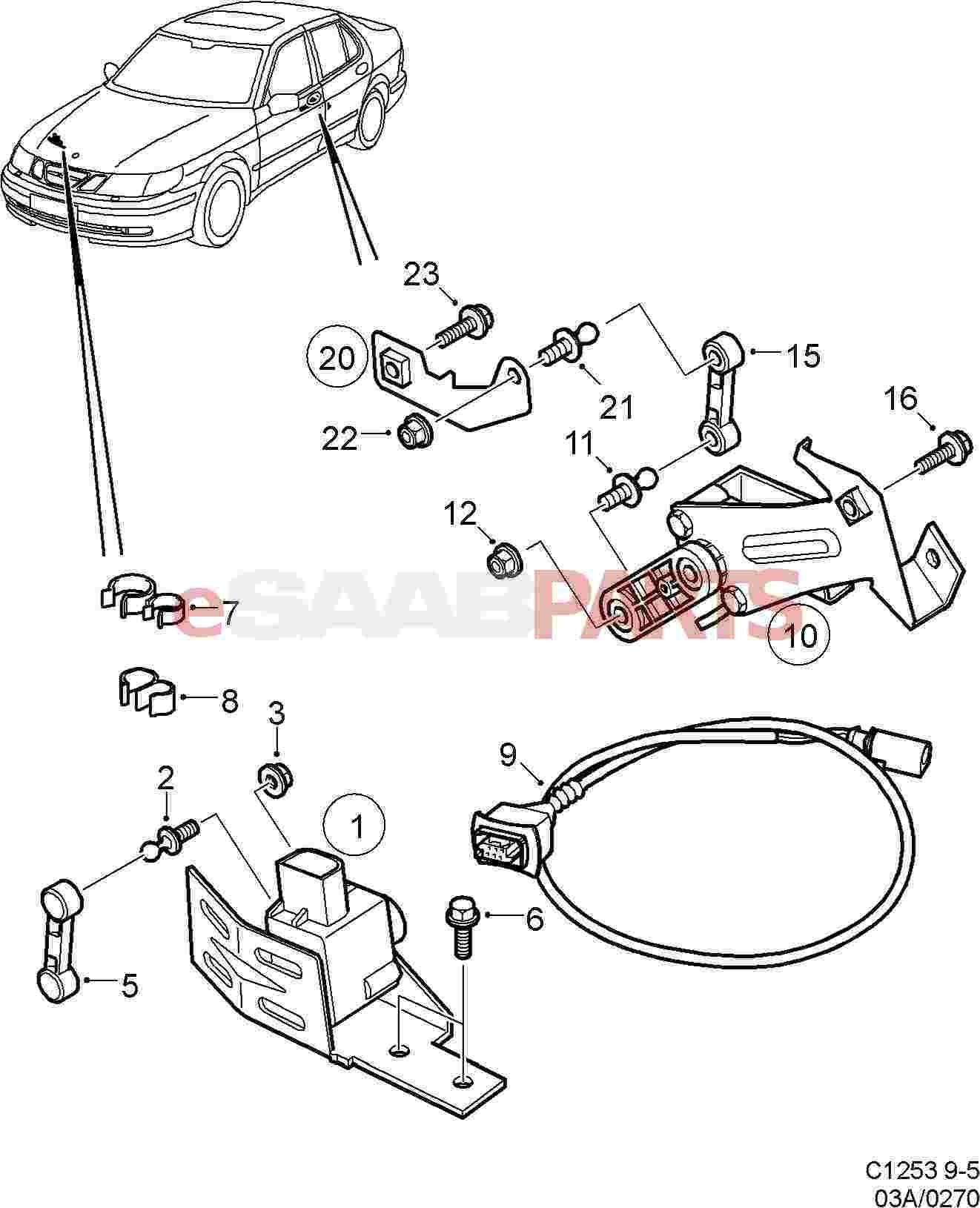 Saab Headlight Leveling Sensor