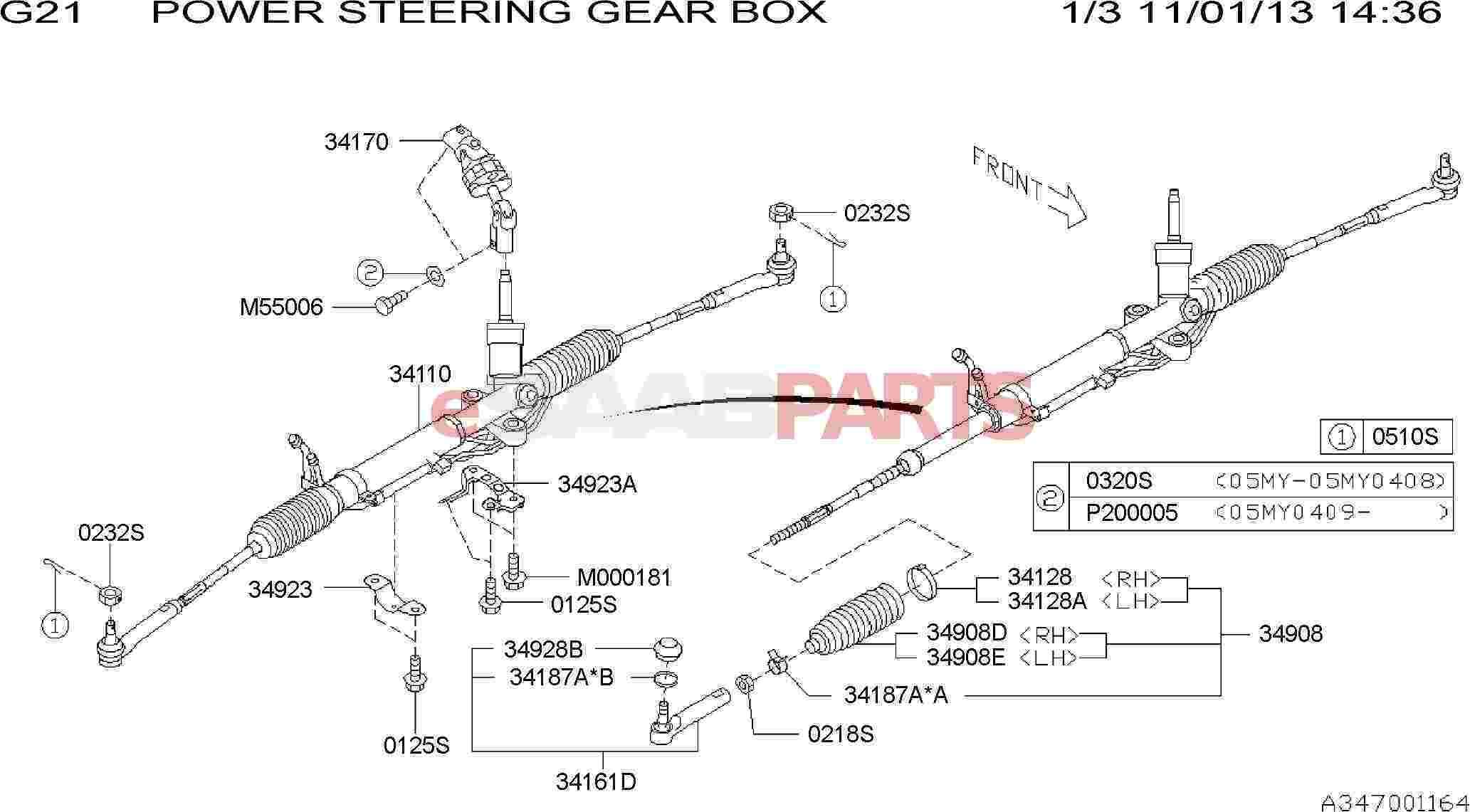 Saab Boot Steering Gear Box
