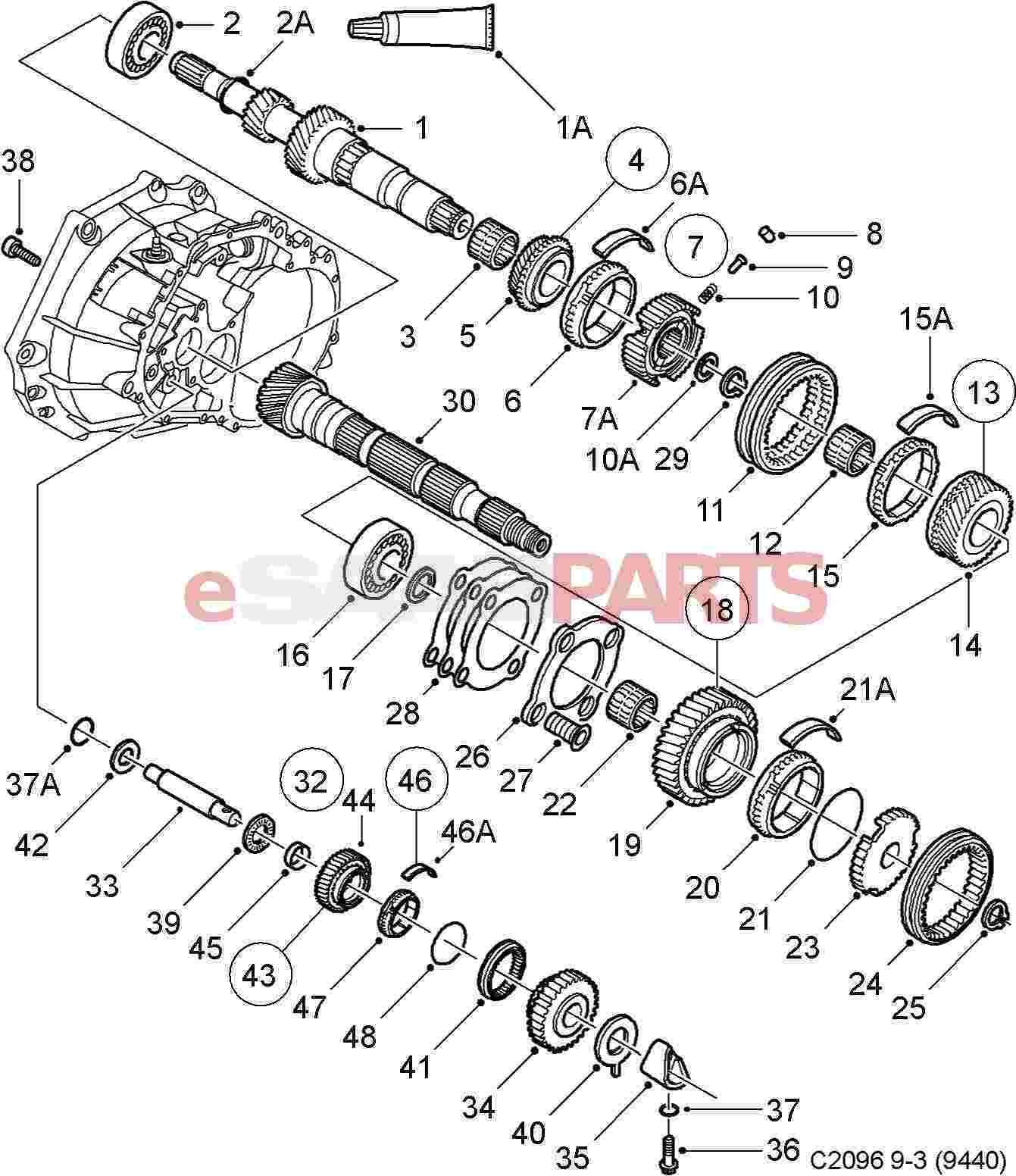 Esaabparts saab 9 3 9440 > transmission parts > transmission manual > shafts gears input shaft