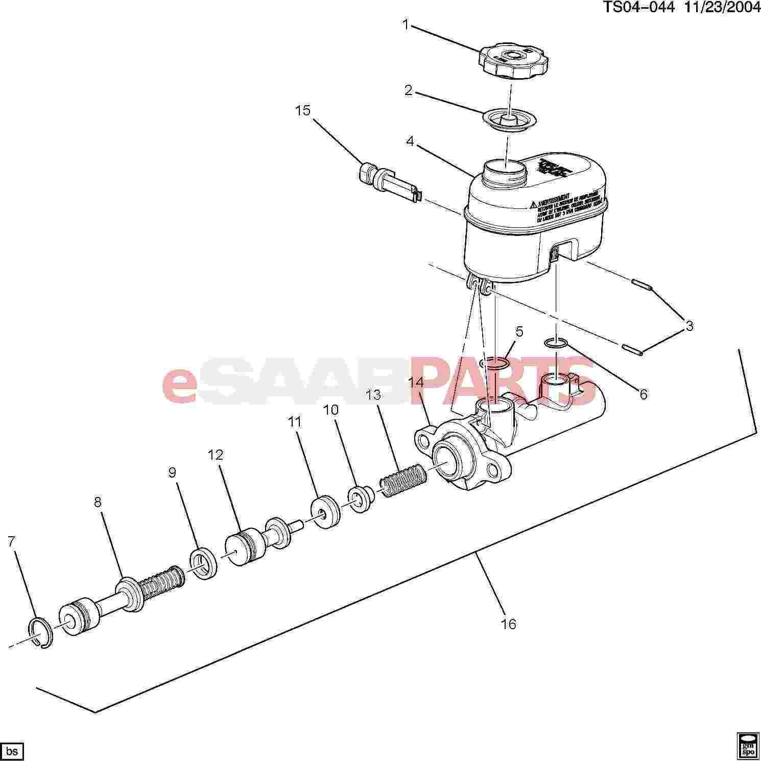 Saab Cap Brake Master Cylinder Reservoir