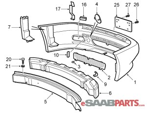 [5120282] SAAB Viggen Front Bumper Cover  Genuine Saab Parts from eSaabParts