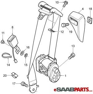 [93185370] SAAB Seat Belt  Driver LH Convertible (Manual Adjustable Seat) 0407  Genuine Saab