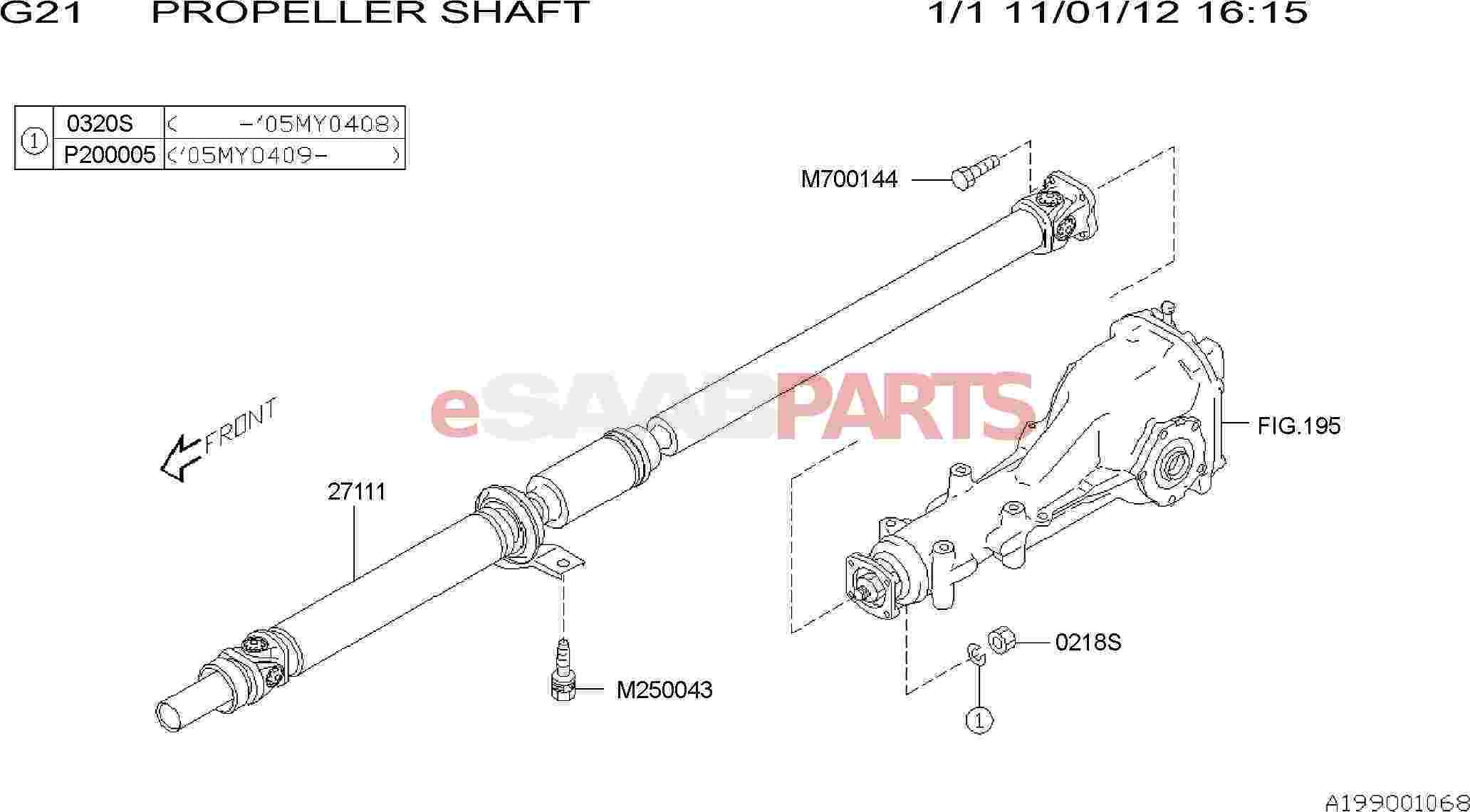 Saab Propeller Shaft Assembly