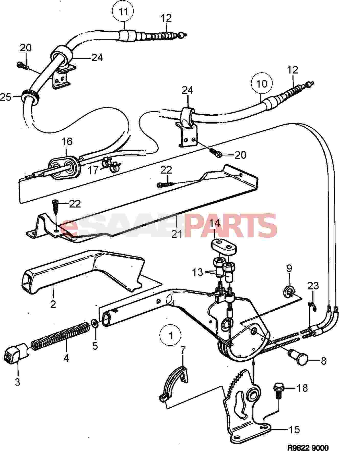 Saab Parking Brake Cable