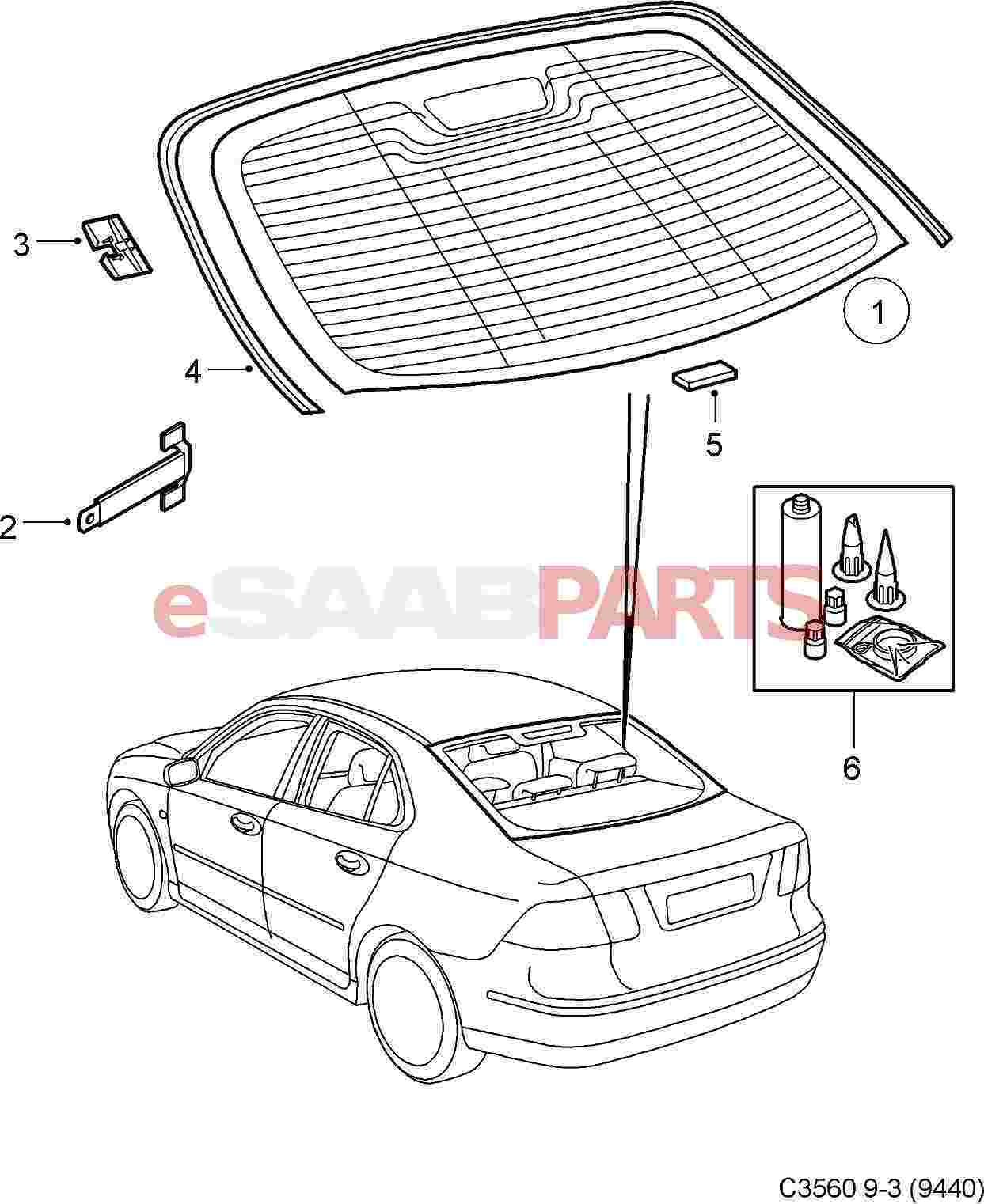 Saab Rear Window Decor Trim Strip