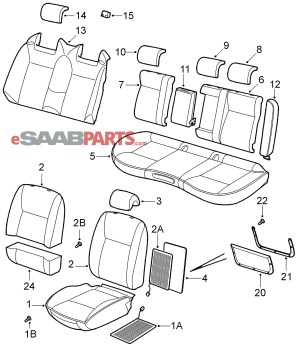 [12783123] SAAB 93 Front Seat Heating Pad (without SportAero Seats)  Genuine Saab Parts from