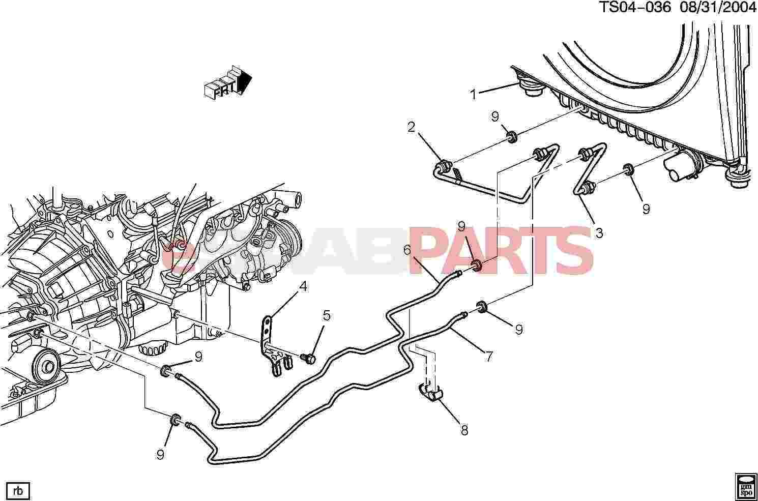 Saab Pipe Trans Fluid Clr Inl