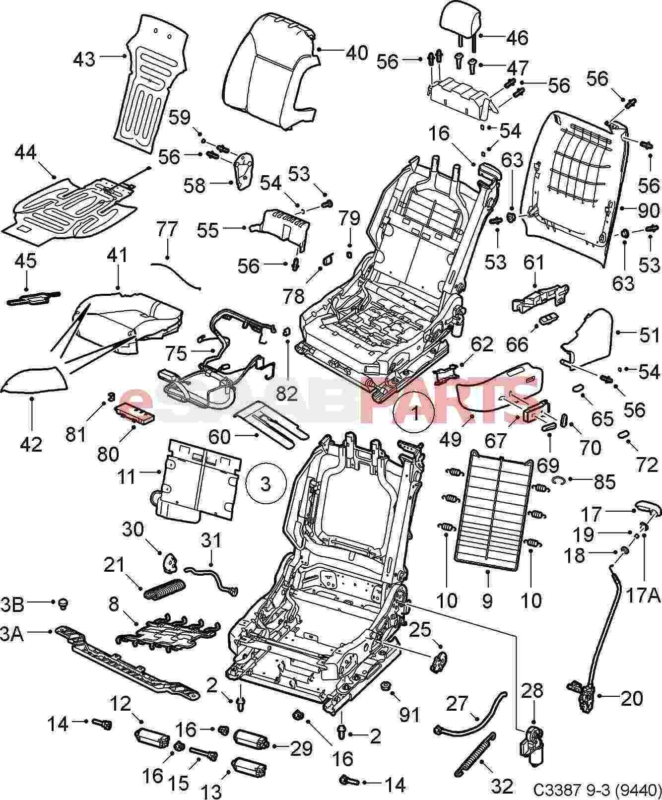 Saab Seat Position Sensor Airbag Seat Rail