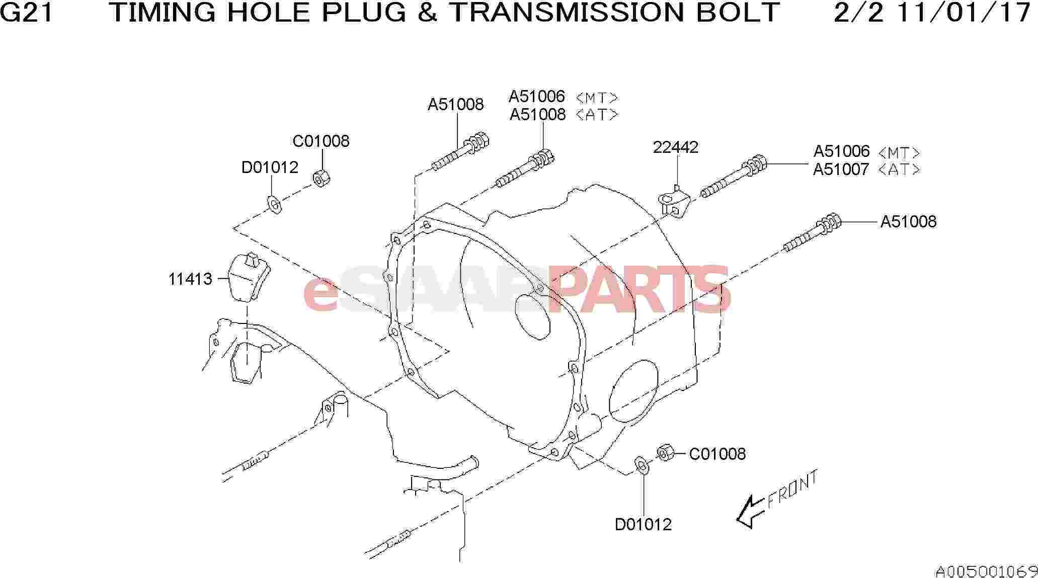 Saab Bolt Amp Washer Assembly
