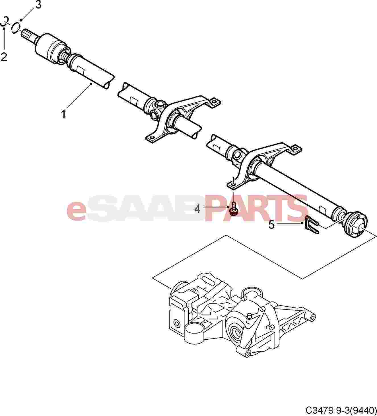 Saab Xwd 9 3 Drive Shaft Prop Shaft 3 Piece