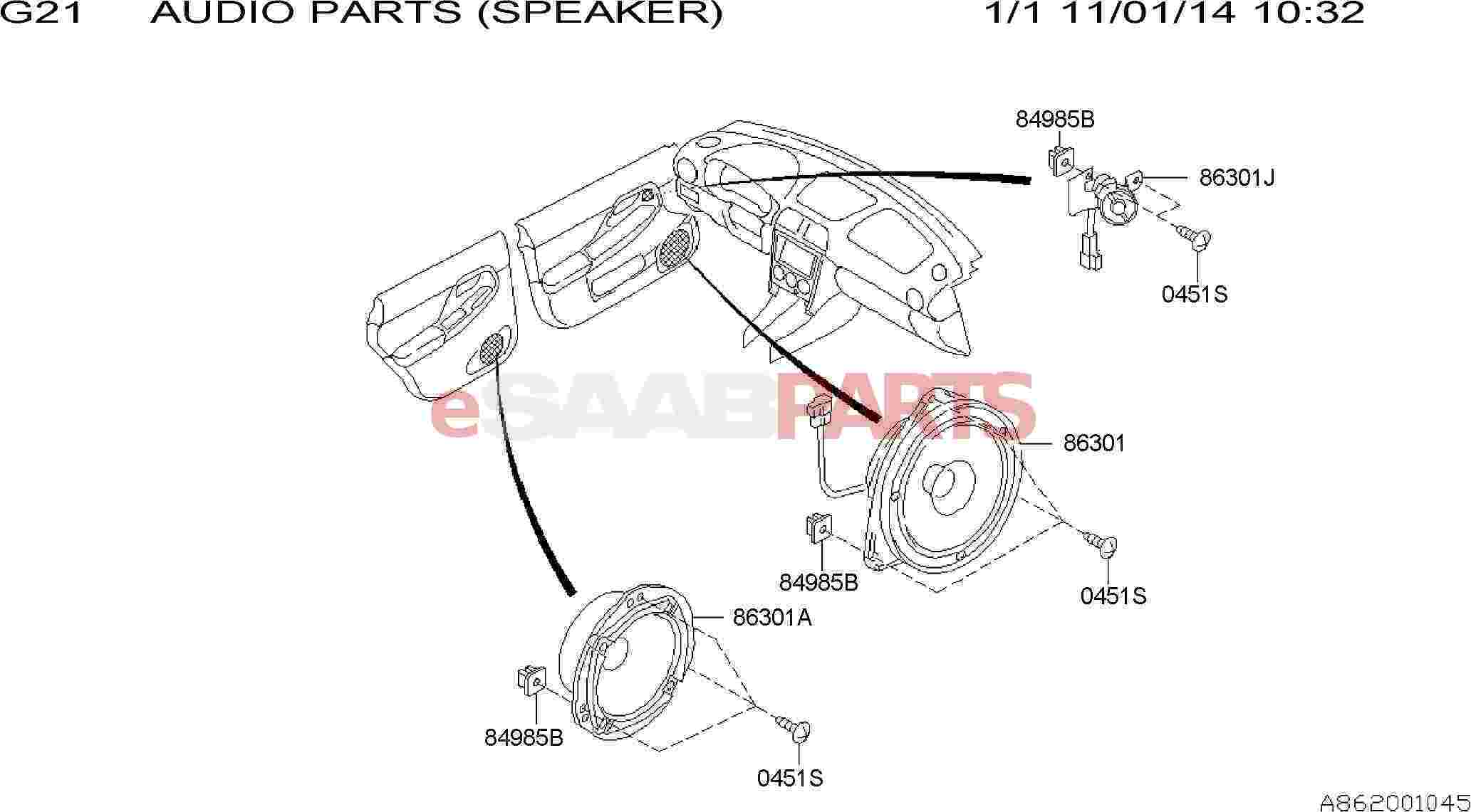Saab Speaker Assembly Rear