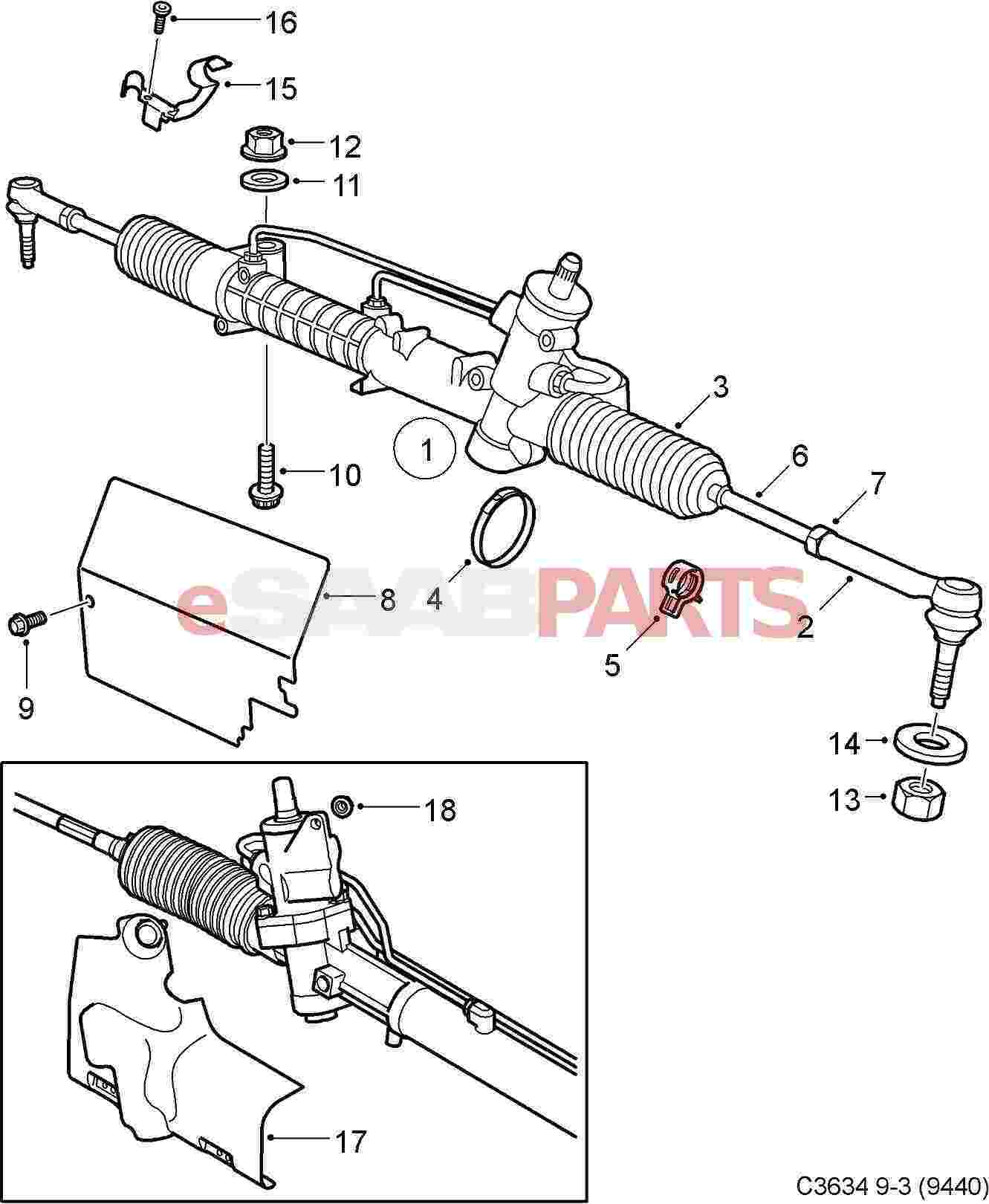 Saab Tie Rod Repair Kit