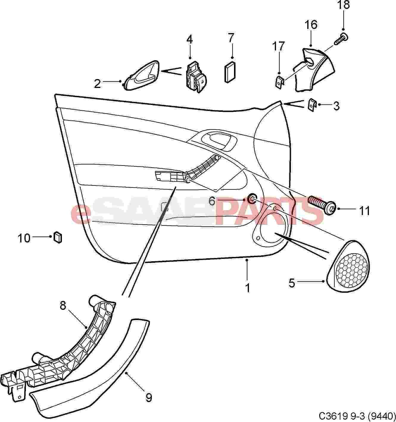 Saab Inner Door Handle