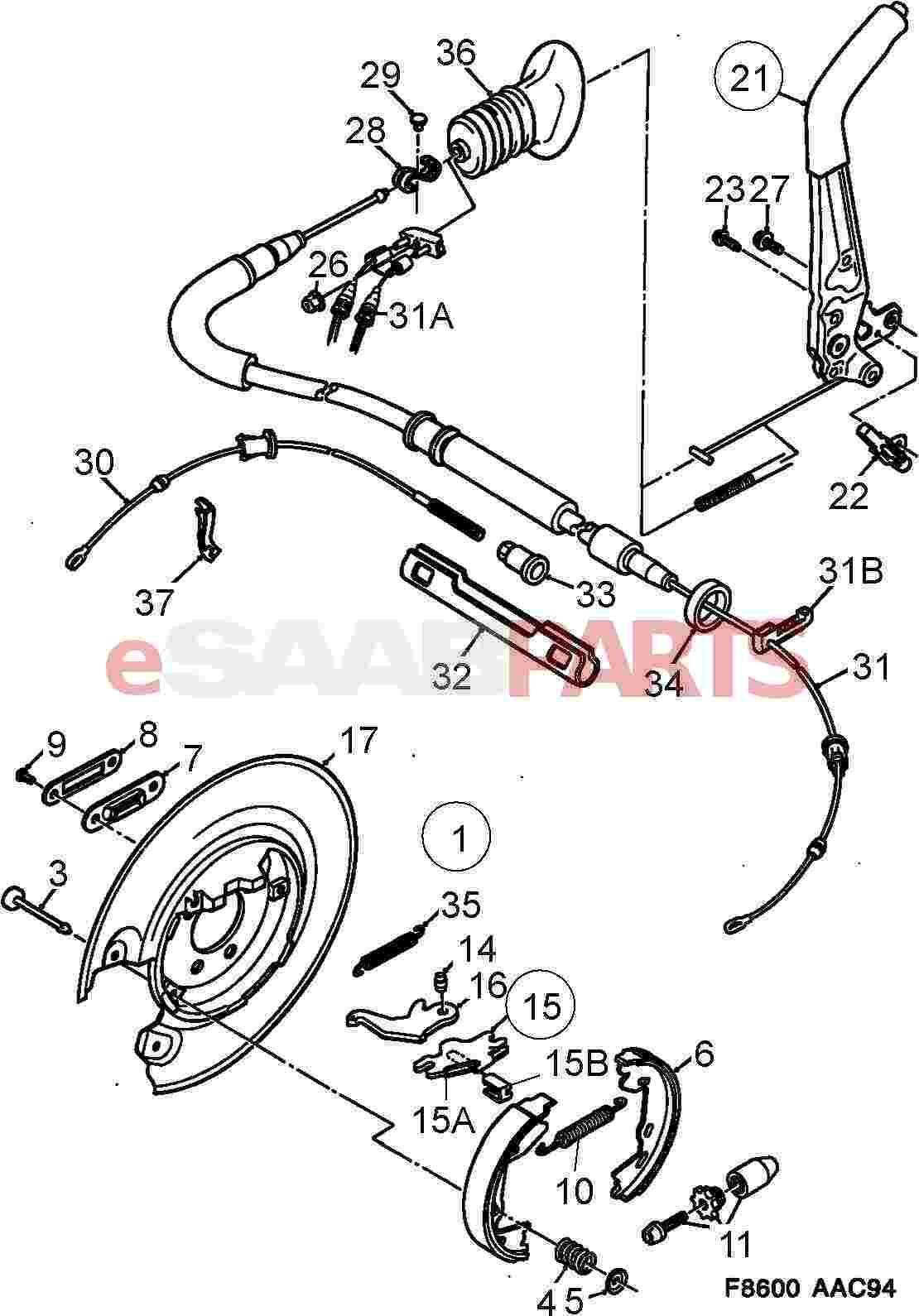Saab 900 Diagram Showing Brake Line