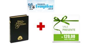 Sorteio: um vale-compras no valor de R$ 120,00 e uma Bíblia de Estudo de Genebra