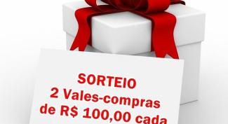 Sorteio de 2 vales-compras de 100 reais cada