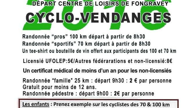 LA CYCLO VENDANGES 2016: 22ème édition 1994-2016