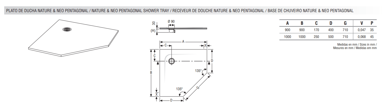 receveur pentagonal standard nature et neo hidrobox