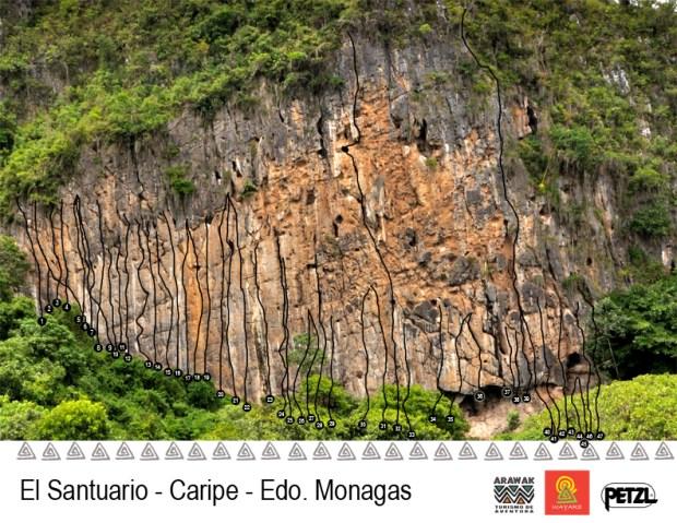Topo sector de escalada Santuario en Caripe