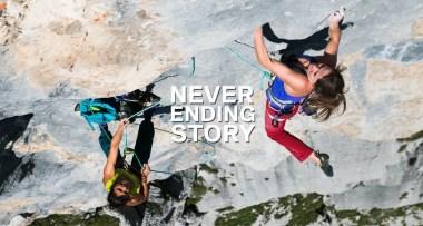Video escalada multilargo: Barbara Zangerl y Nina Caprez escalando Neverending Story 8b+ en Suiza