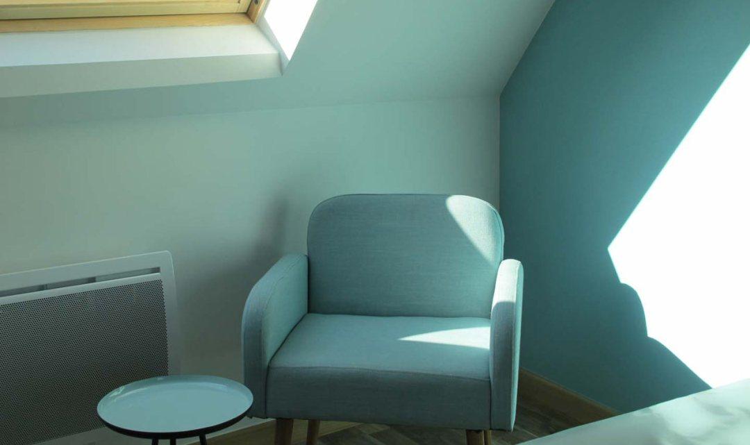 Gîte, chambre bleu