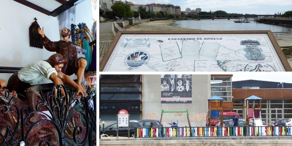 Barrio marinero de Vigo Bouzas con niños