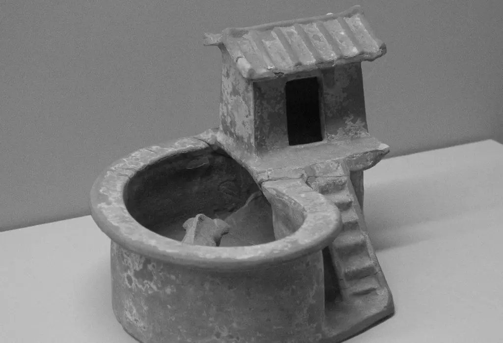 Pottery toilet cum pig sty from the Xi'an museum.