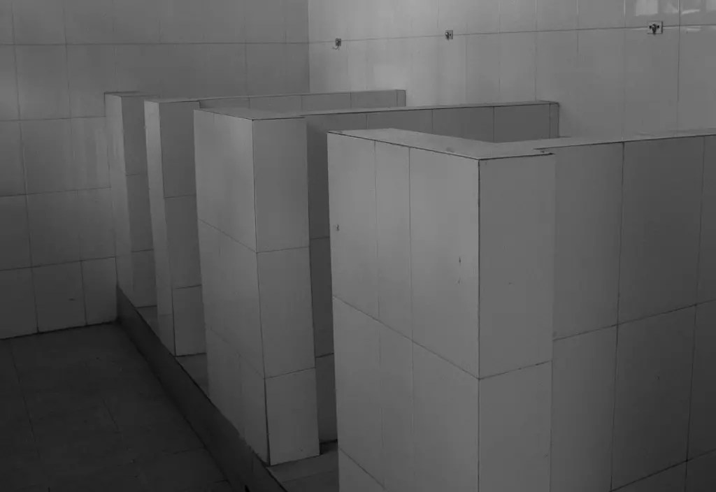 Chinese row of toilets with no doors.