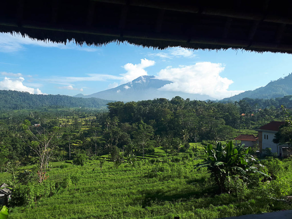 Bali's Mount Agung seen from Kubutani, Sidemen, before the eruption of November 2017.